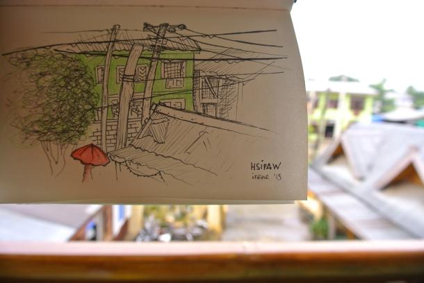 La escuela dibujada en un dia lluvioso, desde la terraza de Mr. Charles.